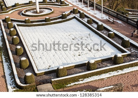 Luxembourg-City's Garden covered by snow - stock photo