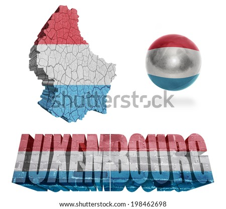 Luxembourg flag and map in different styles in different textures