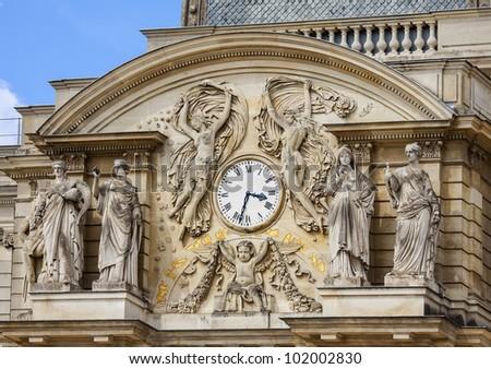 Luxembourg garden clock - stock photo