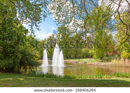 LUXEMBOURG, LUXEMBOURG - APRIL 21, 2014: Water Fountain in the Municipal Park, a public urban park in Luxembourg City.