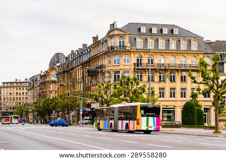 LUXEMBOURG, LUXEMBOURG - JUN 9, 2015: Buinding in Luxembourg city in evening. Luxembourg city is the capital of the Grand Duchy of Luxembourg