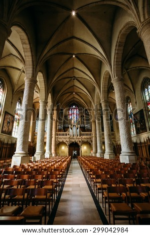 LUXEMBOURG, LUXEMBOURG - JUNE 17, 2015: Interior Notre-Dame Cathedral. Grand Duchy of Luxembourg. It was originally a Jesuit church, and its cornerstone was laid in 1613.