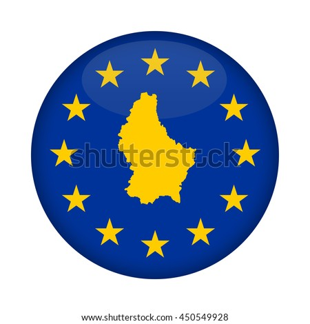 Luxembourg map on a European Union flag button isolated on a white background. - stock photo