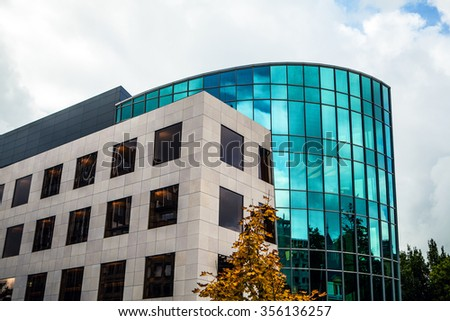 LUXEMBOURG - OCTOBER 30, 2015: Modern architecture of European buildings center in Luxembourg in sunny day with beautiful cloudy sky. Luxembourg.