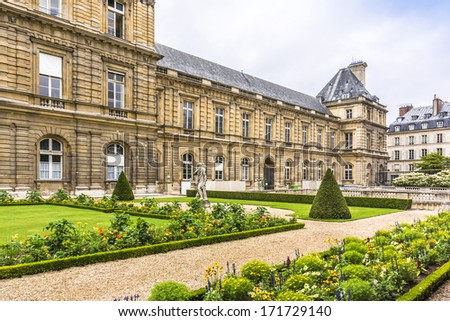 Luxembourg Palace. Jardin du Luxembourg (Luxembourg Gardens) - second largest Public Park in Paris. Park is the garden of the French Senate, which is itself housed in the Luxembourg Palace.