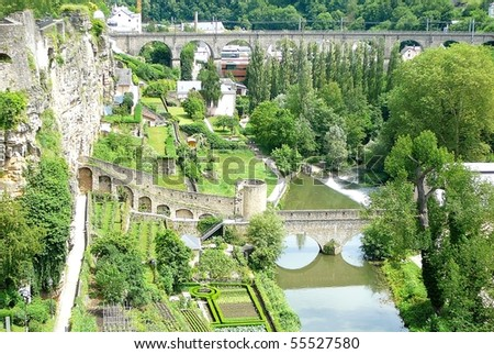 Luxembourg's Grund Valley - stock photo