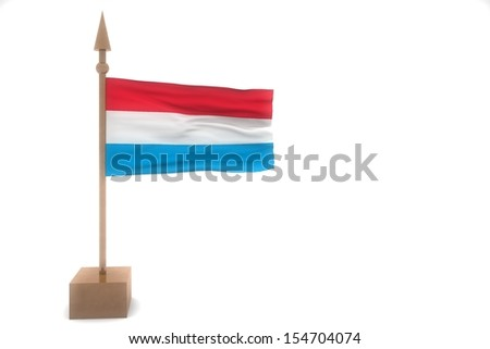 luxembourg waving flag isolated on white
