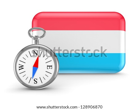 Luxembourgian flag.Isolated on white background.3d rendered. - stock photo
