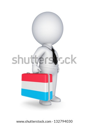 Luxembourgian flag.Isolated on white background.3d rendered illustration.