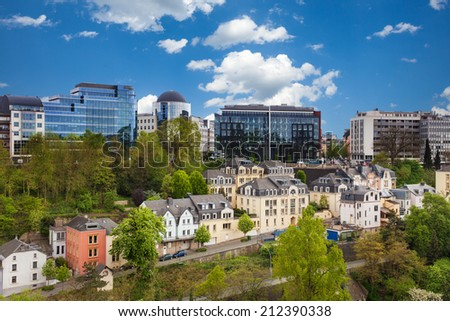 Luxemburg cityscape view from top in summer - stock photo