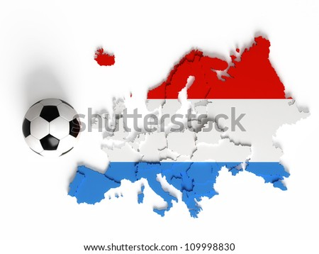 Luxemburg flag on European map with national borders, isolated on white background