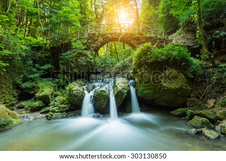 Luxemburg, Mullerthal Waterfall - stock photo