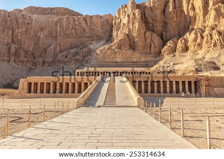LUXOR, EGYPT - FEB 01, 2014: Queen Hatshepsut's temple (Dayr el-Bahari or Dayr el-Bahri), part of the Theban Necropolis. - stock photo