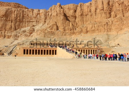 LUXOR, EGYPT - FEBRUARY 10, 2016: People visiting the Temple of Hatshepsut in Egypt near Luxor