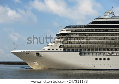 Luxure cruise liner in port - stock photo