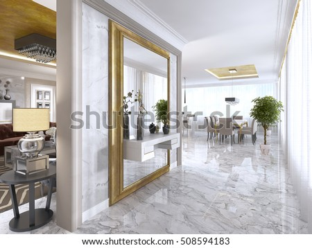Luxurious Art Deco Entrance Hall Large Designer Stock Illustration ...