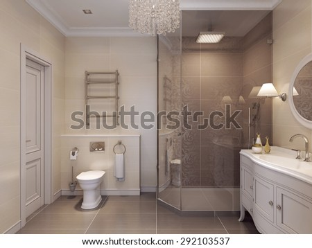 Luxurious bathroom in the art deco style. Beautiful tile pattern in brown and beige. 3D render.