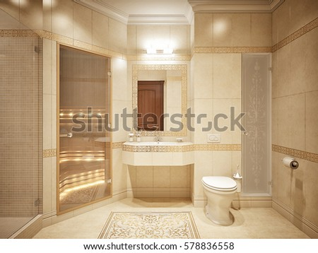 Luxurious Bathroom Interior Design Classic Style Stockillustration Classy Bathroom Classic Design