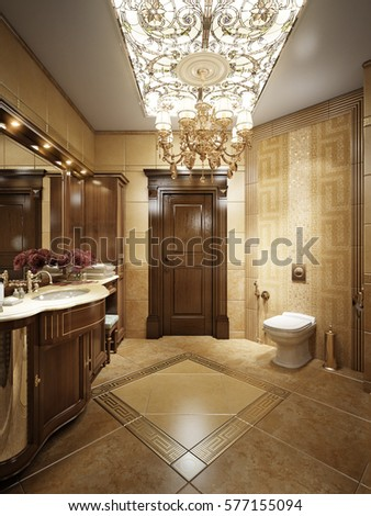 3d render. Luxurious bathroom interior in classic style with crystal  chandeliers and stained glass on the ceiling.