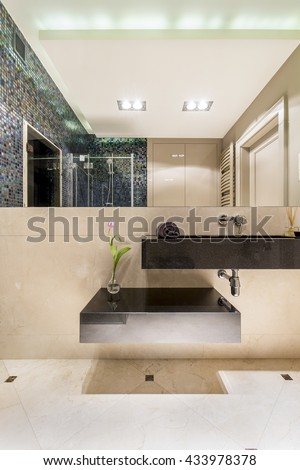 Luxurious bathroom with big mirror and new design basin
