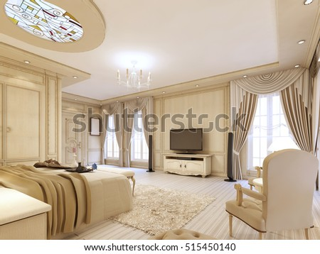 Luxurious bedroom in pastel colours in a neoclassical style  with a large  bed and a. Luxury Bed Large Neoclassical Bedroom Decorative Stock