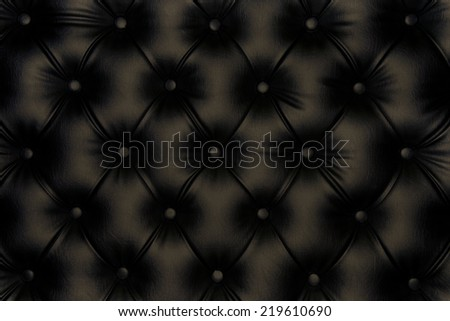 Luxurious black-brown leather texture furniture with buttons  - stock photo
