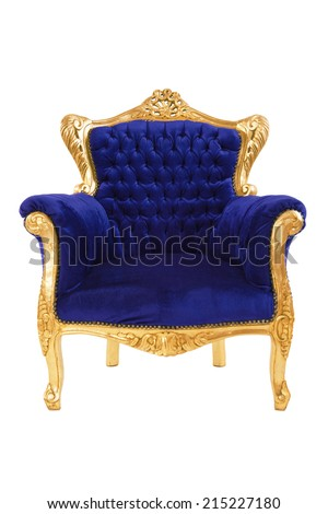 Luxurious blue armchair isolated on white background