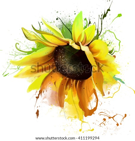 luxurious bright sunflower, with the elements of the sketch, spray paint, closeup on white background - stock photo