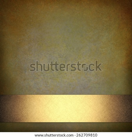 luxurious brown green background with shiny gold ribbon design and vintage distressed texture with brown burnt edges - stock photo