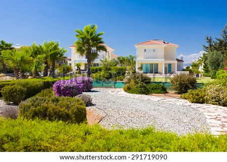 Luxurious buildings from Cyprus, from the shores of the Mediterranean see. - stock photo