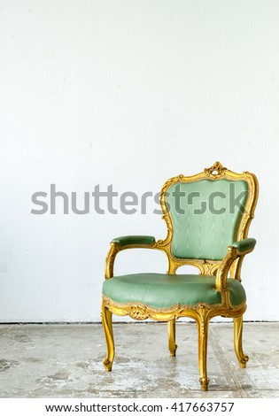 Luxurious classical vintage armchair on white background