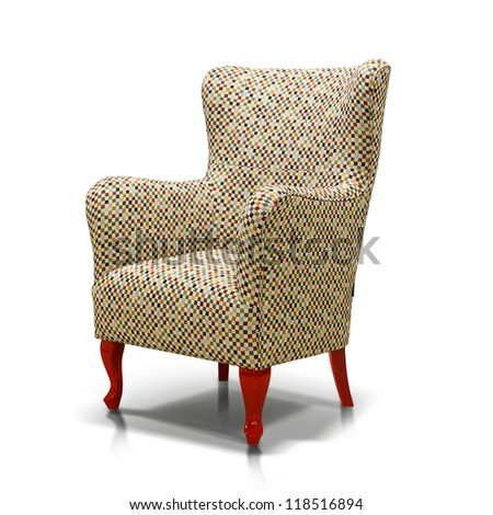 Luxurious colorful armchair with red legs - stock photo