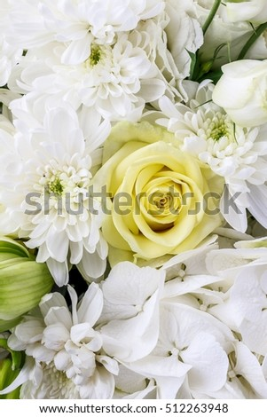 Luxurious floral arrangement with lilies, roses, eustoma, chrysanthemum and hortensia flower.