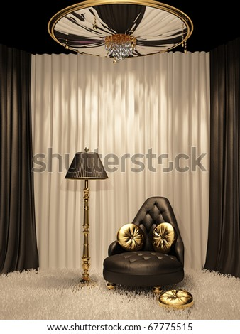 Luxurious furniture in royal interior - stock photo