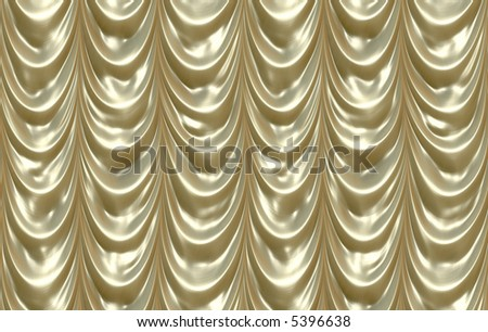 luxurious golden curtains draping down like in a theatre
