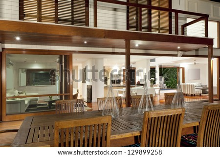 Luxurious home with outdoor entertaining area - stock photo