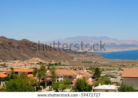 Luxurious homes near Lake Mead in Arizona - stock photo