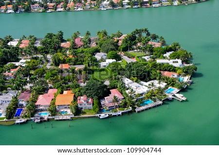 Luxurious homes on venetian islands, Miami Beach, Florida, USA - stock photo