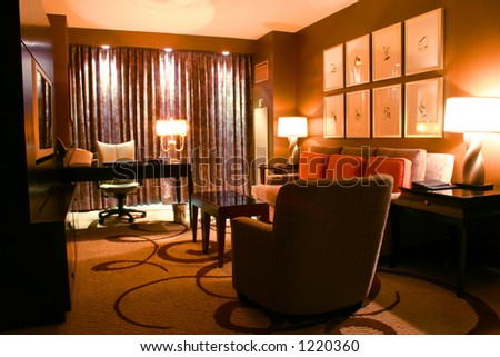 Luxurious hotel suite perfect for a business person - stock photo
