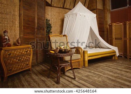 Luxurious  interior of a oriental style bedroom - stock photo