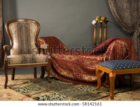 Luxurious interior of the boudoir in the aristocratic style