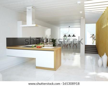Luxurious kitchen interior.contemporary design concept  - stock photo