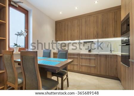 Luxurious kitchen modern design interior - stock photo
