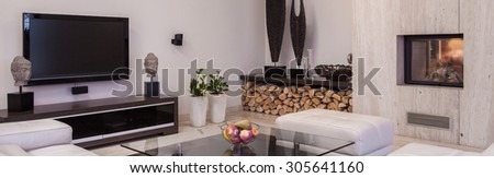 Luxurious living room interior in contemporary style with big tv - stock photo