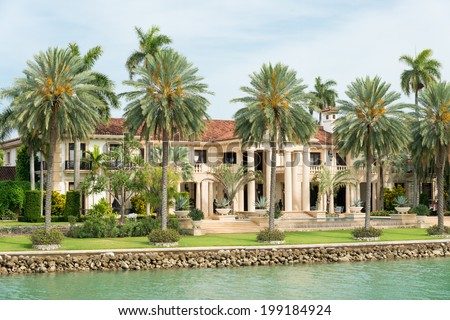 Luxurious mansion on Star Island in Miami, an artificial island in Biscayne Bay and the home of many rich and famous people - stock photo