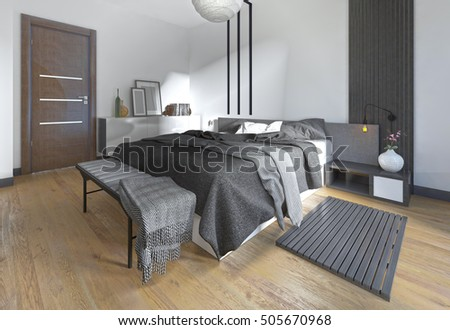 Luxurious, modern bedroom in contemporary style in black and white. Bedroom with decorative elements on the walls. 3D render.