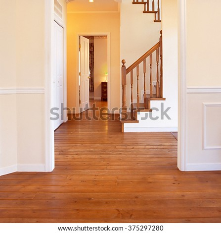 luxurious modern wooden staircase - stock photo