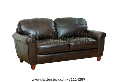 Luxurious of the dark brown leather sofa isolated - stock photo