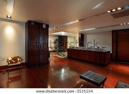 Luxurious office interior with reception desk - stock photo