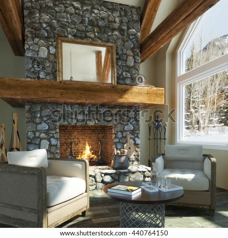 cabin with fireplace. Luxurious open floor cabin interior design with roaring fireplace and  winter scenic background Photo realistic Cabin Fireplace Stock Images Royalty Free Vectors